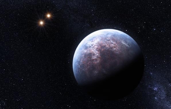 Картинка космос, звезда, планета, звёзды