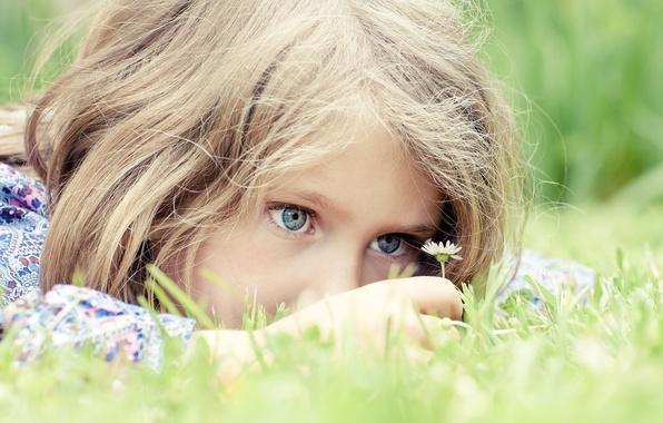 Картинка трава, радость, цветы, надежда, дети, детство, игра, ребенок, play, grass, голубые глаза, blue eyes, flowers, …