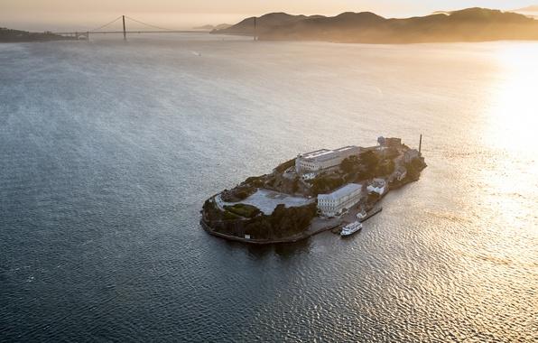 Картинка pacific ocean, sunset, san francisco, island, prison, bay, alcatraz