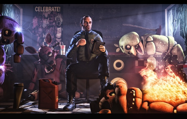 Картинка GTA, Grand Theft Auto, Trevor Phillips, Five Nights at Freddy's, Five nights with Trevor