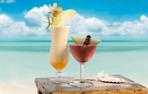 Картинка море, вишня, стакан, коктейль, напиток, sea, 1920x1200, melon, cherry, cocktail, дыня, drink.glass
