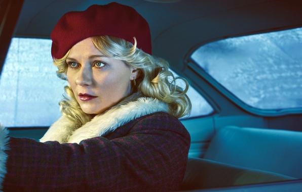 Картинка авто, девушка, Kirsten Dunst, кадр, блондинка, сериал, салон, триллер, пальто, берет, криминал, TV Series, Fargo, …