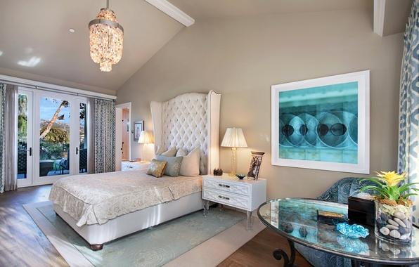 Картинка дизайн, фото, лампа, кровать, интерьер, подушки, спальня