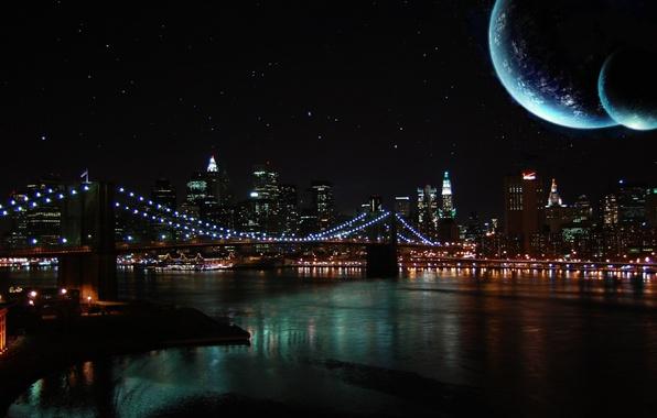 Картинка небо, ночь, мост, река, луна