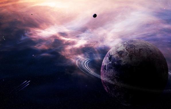 Картинка lights, stars, planets, asteroids, sci fi