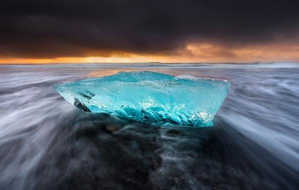 Картинка море, пляж, небо, природа, берег, лёд