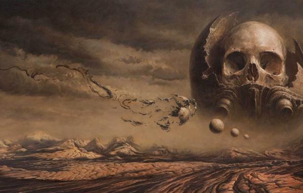 Картинка смерть, пустыня, череп, skull, Nick Keller