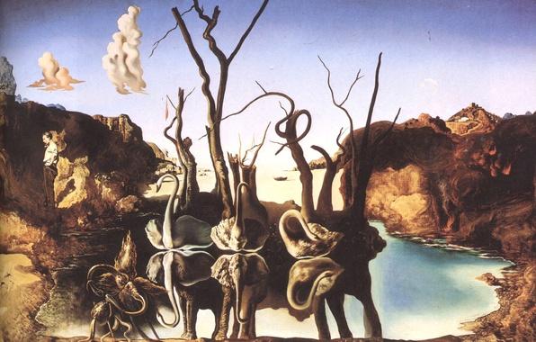 Картинка сюрреализм, картина, художник, лебеди, Сальвадор Дали, отражающиеся в слонах, Salvador Dali, 1937 год, живописец