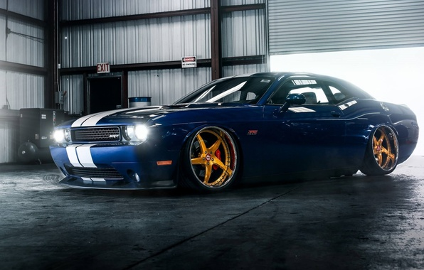 Картинка Muscle, Dodge, Challenger, Car, Hellcat, SRT, Gold, Low, Wheels
