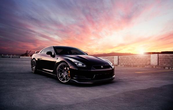 Картинка car, black, ниссан, Nissan GT-R