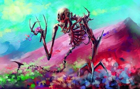 Картинка цветы, череп, арт, кости, скелет, Por-t-falatron, WONDERLAND