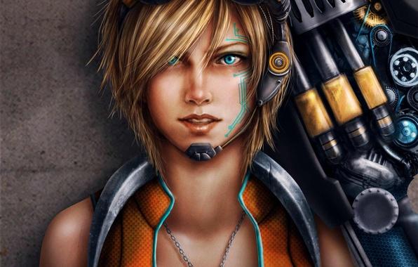 Картинка девушка, оружие, узор, тату, арт, очки, кулон, Trixia Quinzon