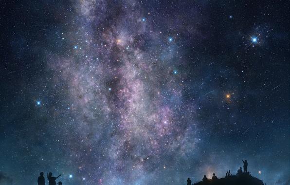 Картинка небо, звезды, ночь, люди, силуэт, арт, tsujiki