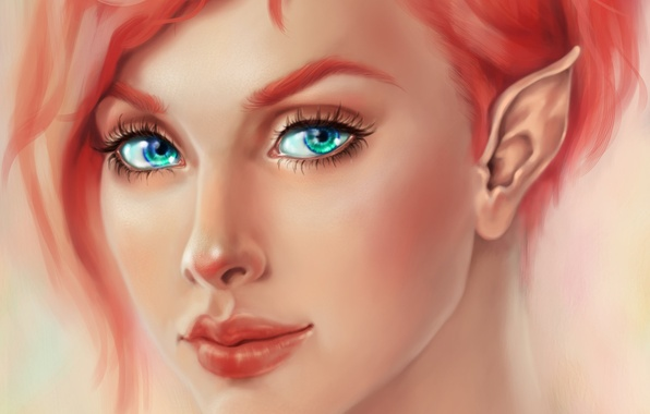 Картинка взгляд, лицо, ресницы, эльф, арт, эльфийка, уши