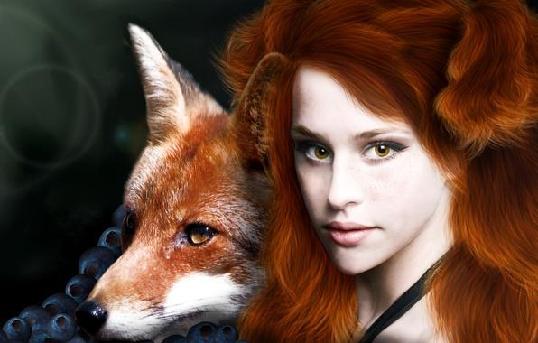 Картинка глаза, взгляд, девушка, лицо, ягоды, фантастика, животное, волосы, лиса, веснушки, рыжие