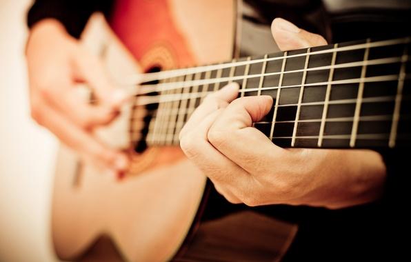 Картинка гитара, струны, music, размытость, звук, инструмент, музыкант, играет, акустика, гриф, лады, музыкальный, боке, musical, живой, …