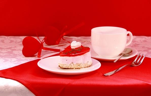 Картинка настроение, праздник, завтрак, посуда, натюрморт, валентинка, день святого валентина, композиция, пироженое, аксессуары