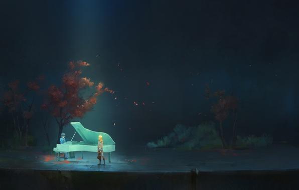 Картинка девушка, деревья, природа, скрипка, аниме, рояль, арт, форма, парень, школьники, a-shacho, arima kousei, shigatsu wa …