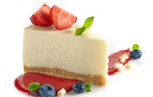 Картинка ягоды, сладость, клубника, пирог, торт, пирожное, мята, десерт, выпечка, джем, strawberry, dessert, чизкейк, cheesecake
