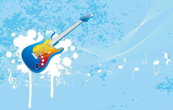 Картинка ноты, музыка, голубой, гитара, вектор