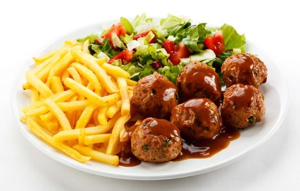 Картинка green, мясо, помидоры, салат, tomatoes, картофель фри, котлеты, meat, тефтели