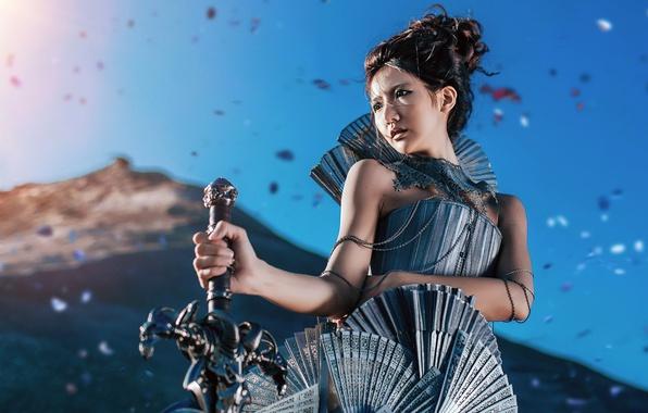 Картинка девушка, фон, меч