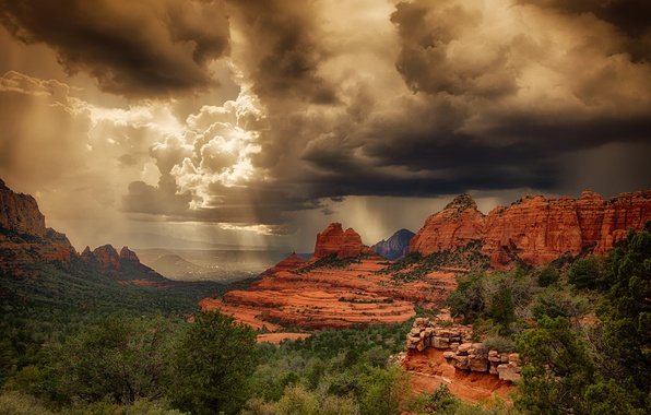 Картинка лето, свет, шторм, скалы, пустыня, Аризона, США, Седона