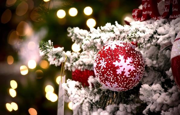 Картинка зима, красный, огни, игрушка, елка, шарик, Новый Год, Рождество, Christmas, снежинка, праздники, боке, New Year, …
