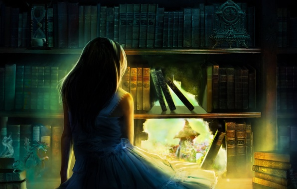 Картинка девушка, свет, волосы, спина, часы, книги, дыра, арт, статуэтка, плечи, песочные часы, голубое платье, книжный …