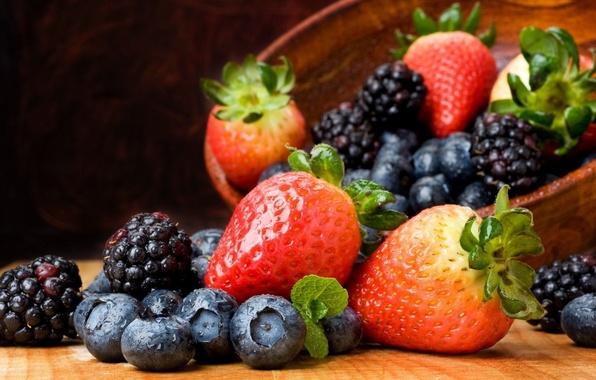 Картинка ягоды, клубника, фрукты, натюрморт