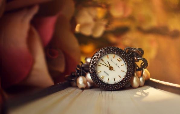 Картинка цветок, часы, роза, книга, подвеска