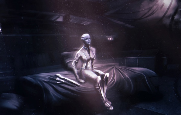 Картинка Mass Effect, normandy, cabin, asari, Liara T'Soni