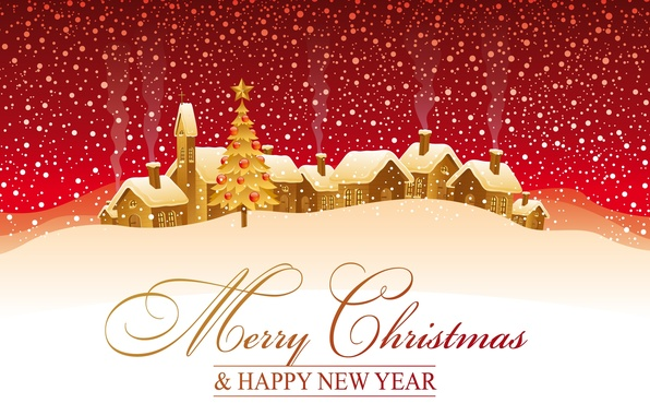 Картинка зима, снег, праздник, надпись, рисунок, елка, домики