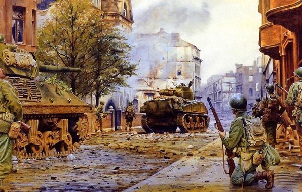 Картинка город, война, улица, дым, здания, бой, американцы, солдаты, разруха, руины, танки, шерман, дерева два слева