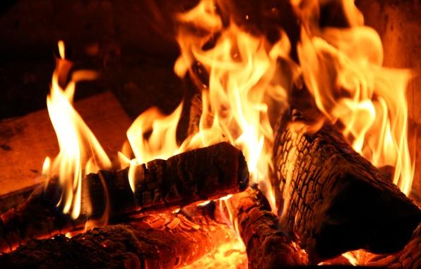 Картинка огонь, костер, печка