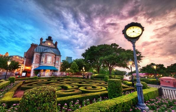 Картинка облака, закат, здание, фонари, Sunset, Disney World