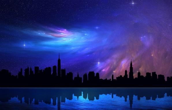 Картинка небо, звезды, ночь, абстракция, отражение, небоскребы, Чикаго, красиво, Chicago, высотки