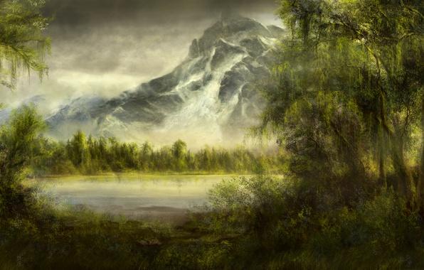 Картинка лес, деревья, озеро, пруд, гора, арт, ивы