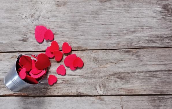 Картинка праздник, Valentine's Day, День Святого Валентина, holiday, Heart in the bucket, Сердца в ведре