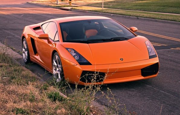Картинка дорога, оранжевый, gallardo, lamborghini, вид спереди, orange, ламборгини, галлардо, lp540-4