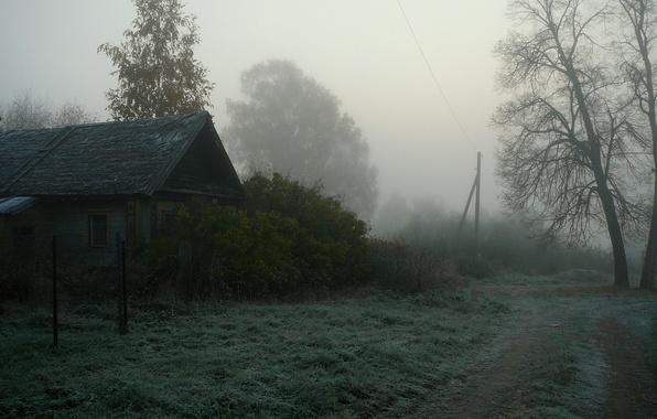 Картинка туман, дом, деревня