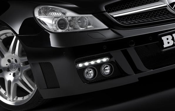 Картинка черный, Mercedes-Benz, фара, BRABUS