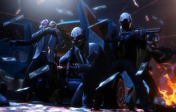 Картинка маски, ограбление, грабители, Payday 2, Overkill Software, 505 Games