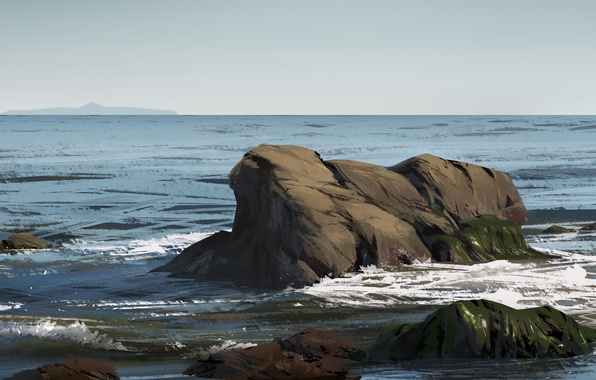 Картинка море, пейзаж, природа, камни, арт