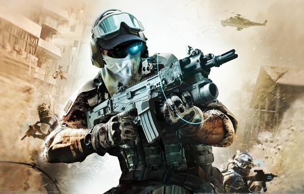 Картинка взрыв, оружие, очки, автомат, солдаты, перчатки, вертолёт, камуфляж, прицел, голограмма, отряд призрак, Ghost Recon: Future …