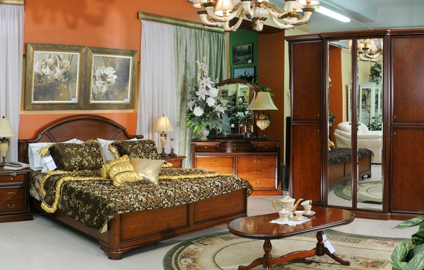 Картинка цветы, дизайн, стиль, лилии, белье, лампа, кровать, интерьер, подушки, зеркало, окно, люстра, постель, посуда, одеяло, ...