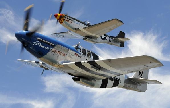 Картинка небо, облака, самолет, надпись, Mustang, истребитель, пилот, P-51, North American