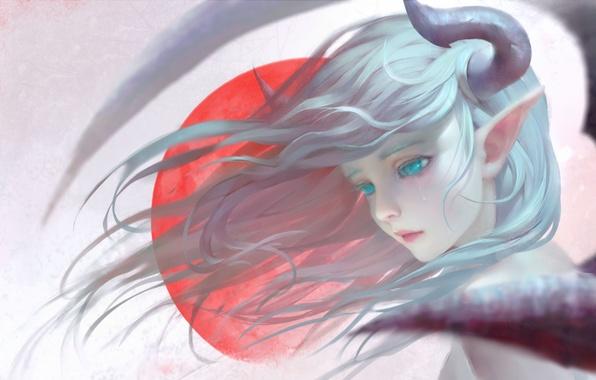 Картинка девушка, эльф, крылья, аниме, арт, рога, shuhai yimitong