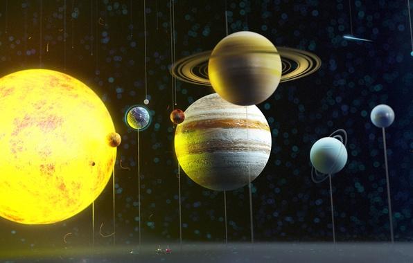 Картинка космос, планеты, солнечная система, art