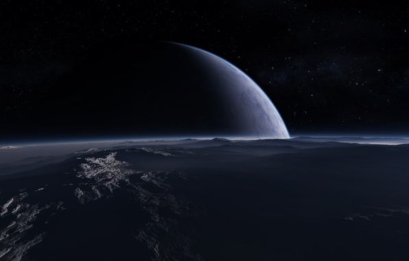 Картинка Туман, Звезды, Планета, Поверхность, Ландшафт